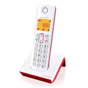Alcatel - Trådløs Fastnettelefon Med Oplader - S-250 - Hvid Rød
