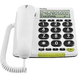 Doro PhoneEasy 312cs bundet Big Button visuell samtalevarsling, håndfri Matt hvit