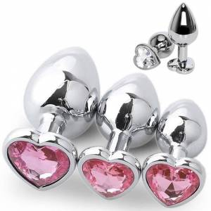 3 Size Anal Plug Heart Stainless Steel Crystal Anal Plug Removable Butt Plug Stimulator Anal Sex Toys Prostate Massager Dildo