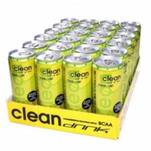 CleanDrink 24 x Clean Drink, 330 ml, Citron/Lime (Koffeinfri)