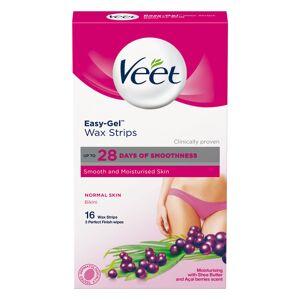 Veet Easy-Gel Wax Strips Normal Skin Bikini (16 Stk)