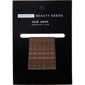 Nordicfeel Beauty Needs, Hair Grips Dark 24pcs 4,8cm Nordicfeel Beauty Needs Hårstrikker & Hårbånd