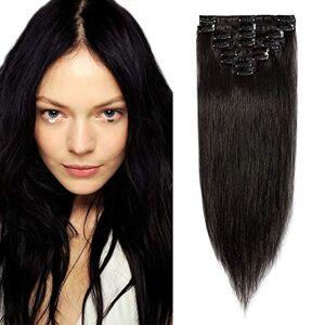 SEGO Clip in Hårförlängninga Människohår 8 PC tunn väft hår Extensions Klämma i Hårförlängd Remy Echthaar Naturlig Svart #1B 18inch(45cm)-70g