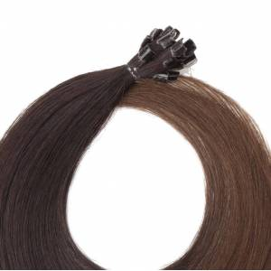 Rapunzel® Äkta löshår Nail Hair Original Rakt O2.3/5.0 Chocolate Brown Ombre 50 cm