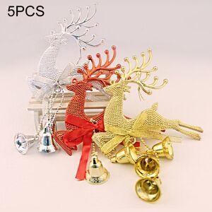 Tarvike 5kpl joulukuusen koristeita, poro, ornamentti, ripustettava riipus kelloilla (Satunnainen väri)