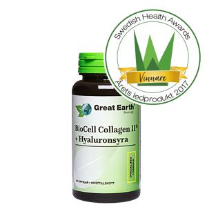 Great Earth BioCell Collagen II+Hyaluronsyra, 60 kapsler