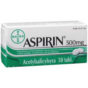 Aspirin tabletter 500 mg, 50st