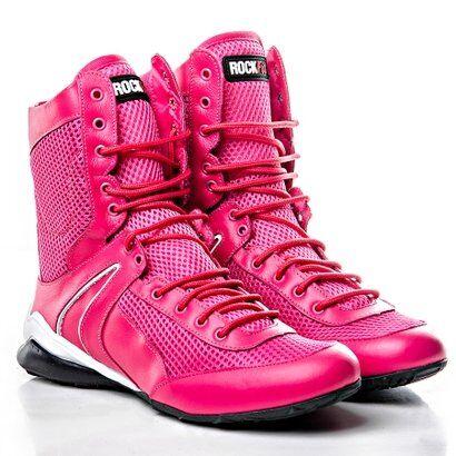 Bota De Treino Fitness Cano Alto Em Couro Pink - R - Feminino