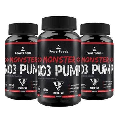 Combo 3x Monster NO3 Pump - 3x120 cpsulas - PowerFoods - Unissex