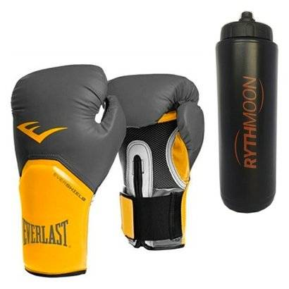 Kit Luva Boxe Elite Pro Style Everlast Cinza 16 Oz - Unissex