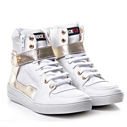 Tenis Sneaker Cano Alto Branco E Dourado - Rock Fi - Unissex