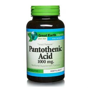 Great Earth Pantothenic Acid (Pantotensyra) 1000mg 90 Kapslar