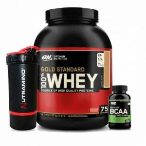 Optimum Nutrition 100% Whey Gold, 2,27 kg + BCAA Caps + Shaker
