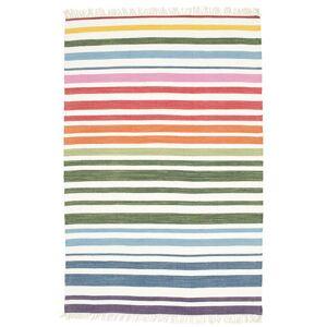 RugVista Køkkentæppe Rainbow Stripe 140X200 Bomuld Håndvævet Moderne Stribet Beige/Hvid/Creme
