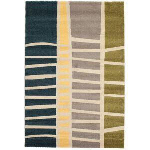 RugVista 140X200 Moderne Tæppe Abstract Bamboo Stribet Beige/Mørkeblå