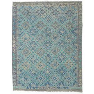 Håndknyttet. Oprindelse: Afghanistan 193X245 Kelim Afghan Old Style Tæppe Ægte Orientalsk Håndvævet Lysegrå/Mørke Turkis (Uld, Afghanistan)