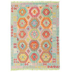 Håndknyttet. Oprindelse: Afghanistan Orientalsk Kelim Afghan Old Style Tæppe 157X209 Lysgrøn/Pastel Grøn (Uld, Afghanistan)