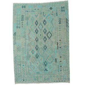 Håndknyttet. Oprindelse: Afghanistan Ægte Tæppe Kelim Afghan Old Style 205X291 Turkis Blå/Pastel Grøn/Lysegrå (Uld, Afghanistan)