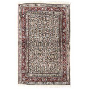 Håndknyttet. Oprindelse: Persia / Iran Orientalsk Moud Tæppe 100X155 Lysegrå/Mørkegrå (Uld/Silke, Persien/Iran)
