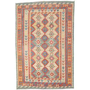 Håndknyttet. Oprindelse: Afghanistan Orientalsk Kelim Afghan Old Style Tæppe 204X309 Rød/Mørk Beige (Uld, Afghanistan)
