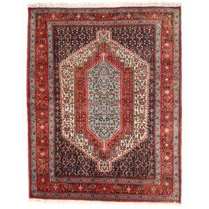Håndknyttet. Oprindelse: Persia / Iran Persisk Senneh Tæppe 125X158 Mørkerød/Mørkebrun (Uld, Persien/Iran)