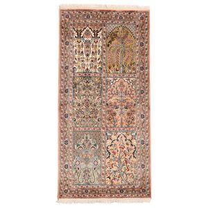 Håndknyttet. Oprindelse: India Orientalsk Kashmir Pure Silke Tæppe 77X156 Mørkebrun/Beige (Silke, Indien)