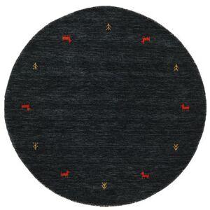 RugVista Gabbeh loom Two Lines - Musta / Harmaa -matto  Ø 150 Itämainen, Pyöreä Matto