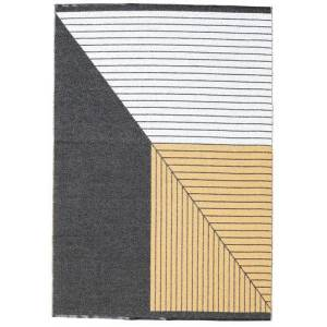 RugVista Moderni Matto Diagonal 150X210 Tummanharmaa/Beige