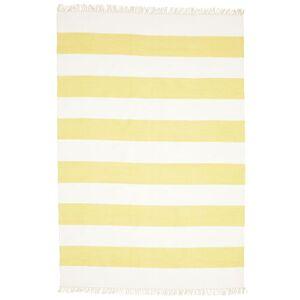 RugVista Cotton Stripe - Gul Teppe 160X230 Ekte Moderne Håndvevd Gul/Beige (Bomull, India)