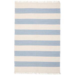 RugVista Cotton Stripe - Lys Blå Teppe 140X200 Ekte Moderne Håndvevd Beige/Lys Blå (Bomull, India)