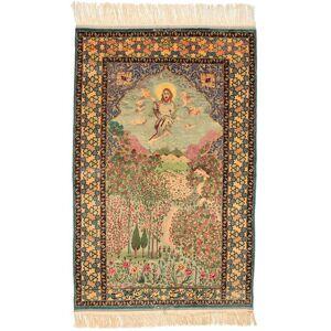 RugVista Persisk Isfahan Figur/Bilde Signert: Haghighi Teppe 163X230 Brun/Beige (Ull/Silke, Persia/Iran)