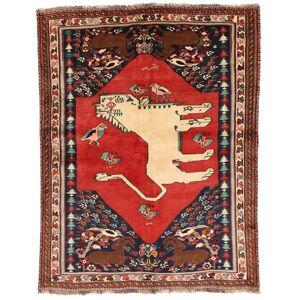 RugVista Ghashghai Figur/Bilde Teppe 150X202 Ekte Orientalsk Håndknyttet Mørk Brun/Rust (Ull, Persia/Iran)
