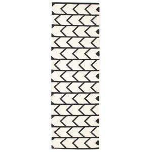RugVista Kjøkken Teppe Delia 80X250 Bomull Håndvevd Moderne Stripet Beige/Mørk Grå