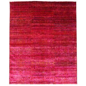 Håndknyttet. Opphav: India Ekte Teppe Sari Ren Silke 244X300 Rød/Rosa (Silke, India)