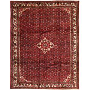Håndknyttet. Opphav: Persia / Iran Persisk Hosseinabad Teppe 258X338 Mørk Rød/Mørk Brun Stort (Ull, Persia/Iran)