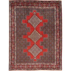 RugVista Senneh Teppe 127X171 Ekte Orientalsk Håndknyttet Mørk Rød/Mørk Brun (Ull, Persia/Iran)