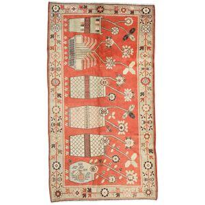 Håndknyttet. Opphav: China Samarkand Vintage Teppe 160X298 Ekte Orientalsk Håndknyttet Mørk Beige/Rød (Ull, Kina)