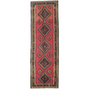 Håndknyttet. Opphav: Persia / Iran Kelim Fars Teppe 136X415 Teppeløpere Mørk Grå/Brun (Ull, Persia/Iran)