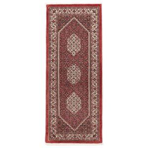 Håndknyttet. Opphav: Persia / Iran 75X190 Bidjar Med Silke Teppe Ekte Orientalsk Håndknyttet Teppeløpere Mørk Rød/Hvit/Creme (Ull/Silke, Persia/Iran)