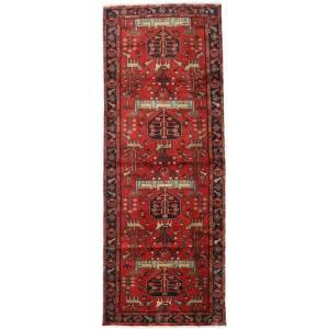Håndknyttet. Opphav: Persia / Iran Ekte Teppe Hamadan 105X284 Teppeløpere Mørk Rød/Rust (Ull, Persia/Iran)