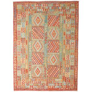 Håndknyttet. Opphav: Afghanistan Kelim Afghan Old Style Teppe 251X346 Ekte Orientalsk Håndvevd Mørk Beige/Lysgrønn Stort (Ull, Afghanistan)