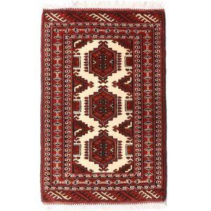 Håndknyttet. Opphav: Persia / Iran Turkaman Teppe 62X94 Mørk Rød/Mørk Beige (Ull, Persia/Iran)