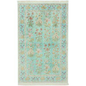 Håndknyttet. Opphav: Persia / Iran Orientalsk Ghom Silke Teppe 102X160 Pastell Grønn/Lys Grå (Silke, Persia/Iran)