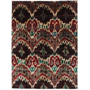 Håndknyttet. Opphav: India Ekte Teppe Sari Ren Silke 275X363 Mørk Brun/Mørk Rød Stort (Silke, India)