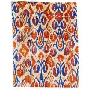 Håndknyttet. Opphav: India Ekte Teppe Sari Ren Silke 155X203 Beige/Mørk Rød (Silke, India)