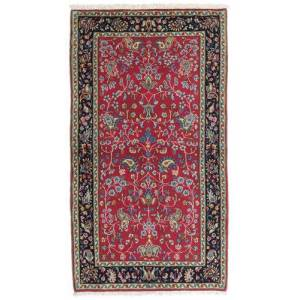 Håndknyttet. Opphav: Persia / Iran 70X130 Orientalsk Kerman Teppe Mørk Rød/Svart (Ull, Persia/Iran)