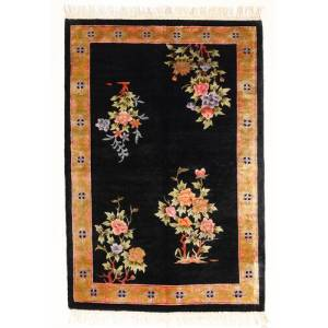 Håndknyttet. Opphav: China Ekte Teppe Kina Art Silke 120 Line 122X183 Svart/Hvit/Creme ( Kina)
