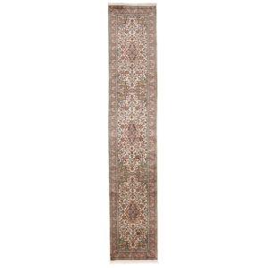 Håndknyttet. Opphav: India Kashmir Ren Silke Teppe 65X331 Teppeløpere Lys Grå/Mørk Rød (Silke, India)