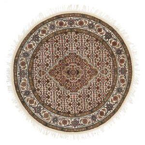 Håndknyttet. Opphav: India Ø 101 Orientalsk Tabriz Royal Teppe Rundt Brun/Beige ( India)