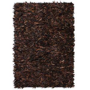 vidaXL Shaggy teppe ekte lær 80x160 cm brun